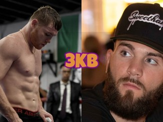 Unified super middleweight champion Canelo Alvarez looking down, IBF super middleweight champion Caleb Plant looks to his right