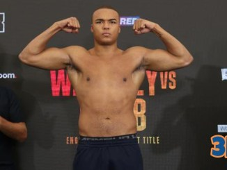 BBB of C English heavyweight titlist Fabio Wardley poses at weigh-in for fight against Nick Webb