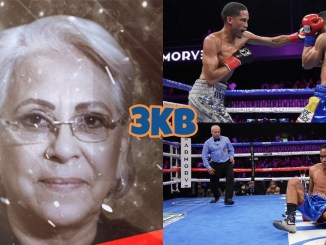 (clockwise from left) Gloria Martinez-Rizzo, Mykal Fox punches Gabriel Maestre, Maestre knocked down by Fox