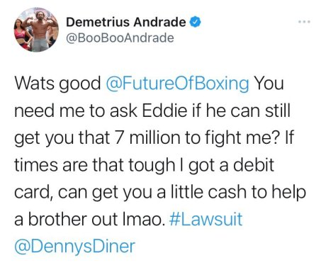 Demetrius Andrade taunts Jermall Charlo about recent arrest on Twitter.