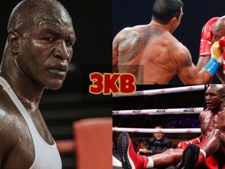 Evander Holyfield looks into the camera; Holyfield hit by an uppercut by Vitor Belfort; Holyfield down on the canvas.