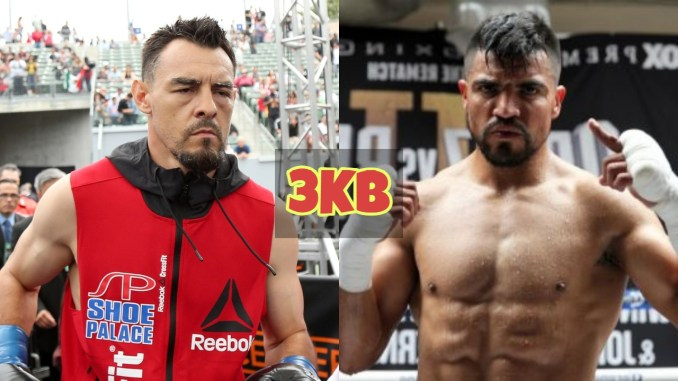 Robert Guerrero ready as his name is announced; Victor Ortiz poses for the cameras after training.
