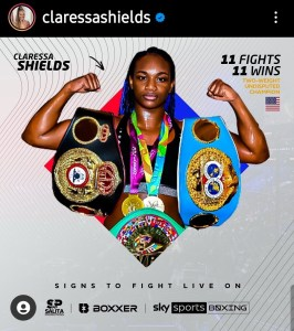Claressa Shields promotes deal with Sky Sports