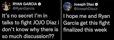 Joseph Diaz and Ryan Garcia state their intentions to stage a fight at lightweight