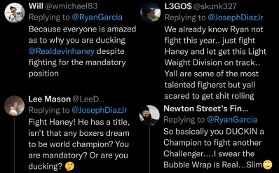 Boxing fans call out Joseph Diaz and Ryan Garcia for ducking Devin Haney