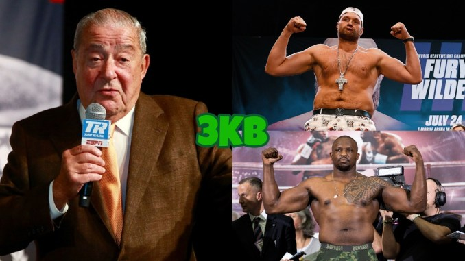 (clockwise from left) Bob Arum speaks into a microphone, WBC champion Tyson Fury flexes at press event for Deontay Wilder trilogy fight, Dillian Whyte flexes at a weigh-in