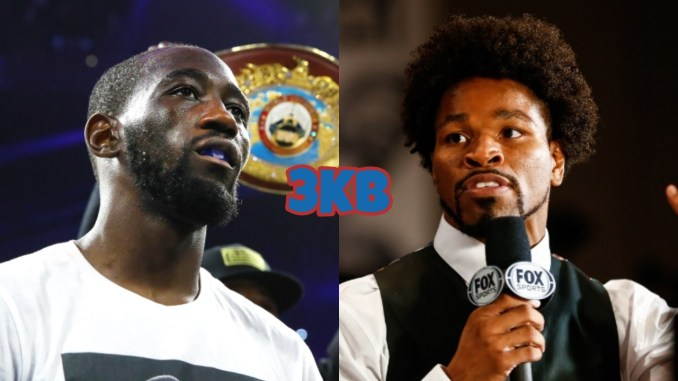 WBO Welterweight champion Terence Crawford looks across the ring, former champion Shawn Porter talks into a microphone