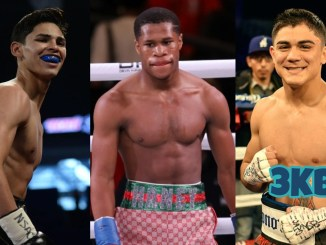 Ryan Garcia smiles from the ring, WBC lightweight champion Devin Haney standing in the ring, Joseph Diaz poses in the ring