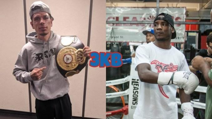 Roger Gutierrez with his WBA belt, junior lightweight contender Chris Colbert getting his glove laced