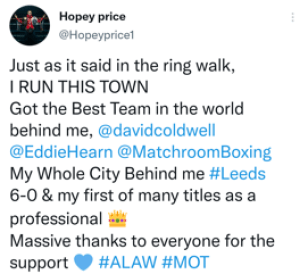Hopey Price celebrates his victory over Zahid Hussain to become IBO champion