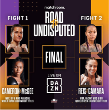 Poster advertising a three-fight tournament to determine the female undisputed super lightweight champion