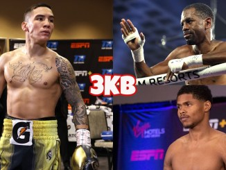 (clockwise from left) Oscar Valdez looking to his left, Jamel Herring motions his hand from inside the ring, Shakur Stevenson at a press event