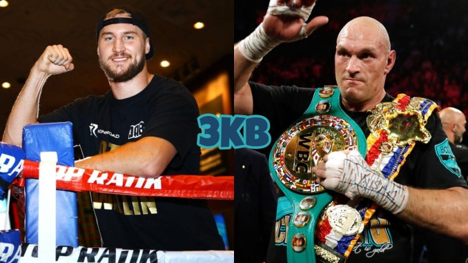Otto Wallin with right fist raised, Tyson Fury in the ring with his WBC title