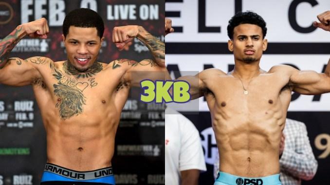 Gervonta Davis flexes after weigh-in; Rolando Romero flexes after weigh-in.