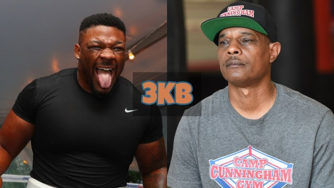 Jarrell Miller screams with his tongue out; Kevin Cunningham waits for questions from the media.