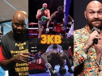 Malik Scott motivating Deontay Wilder; Two angles of Tyson Fury's final knockdown of Wilder; Fury look on towards the media.
