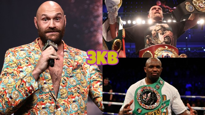 (clockwise from left) WBC heavyweight champion Tyson Fury speaking ahead of Deontay Wilder trilogy fight, Oleksandr Usyk holding his title belts, Dillian Whyte with his WBC belt