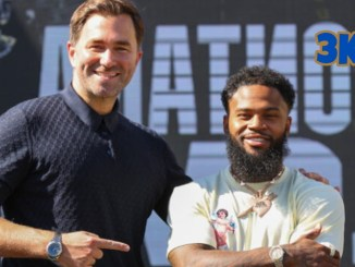 Matchroom Boxing head Eddie Hearn poses with Cleveland boxer Montana Love
