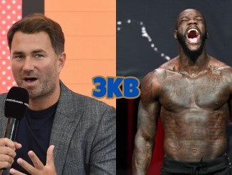 Eddie Hearn speaks into a microsphone, Deontay Wilder lets out a battle cry