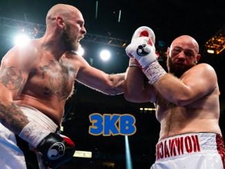 Heavyweight boxers Robert Helenius and Adam Kownacki during their October 2021 rematch