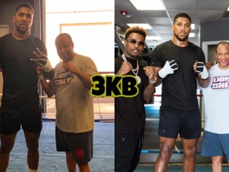 Former champion Anthony Joshua at the Ronnie Shields training Gym in Texas