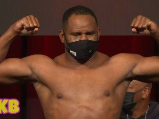 Frank Sanchez flexes at fight weigh-in for Efe Ajagba bout
