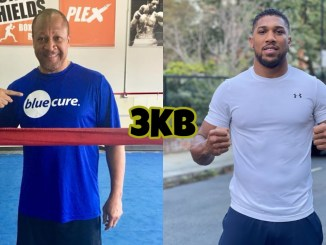 Boxing trainer Ronnie Shields in the ring, Anthony Joshua posing in the street