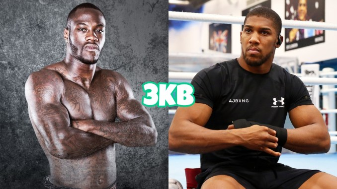 Deontay Wilder with arms crossed, Anthony Joshua sits at the edge of a ring