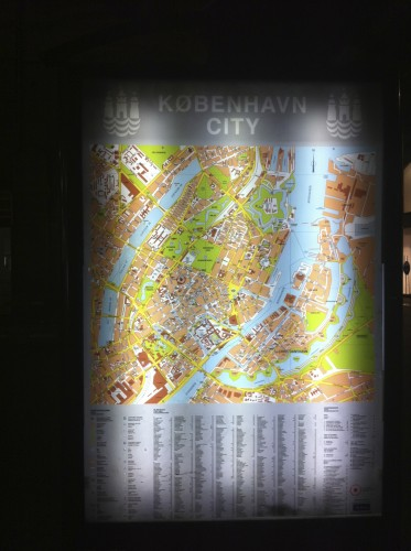 Local street map kiosk in Copenhagen