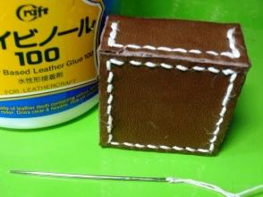 まっすぐな針で縫った拝み合わせ縫い