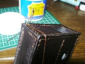 底面を拝み合わせ縫いで縫い付ける