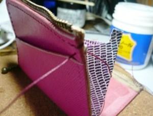 マチを縫い付ける