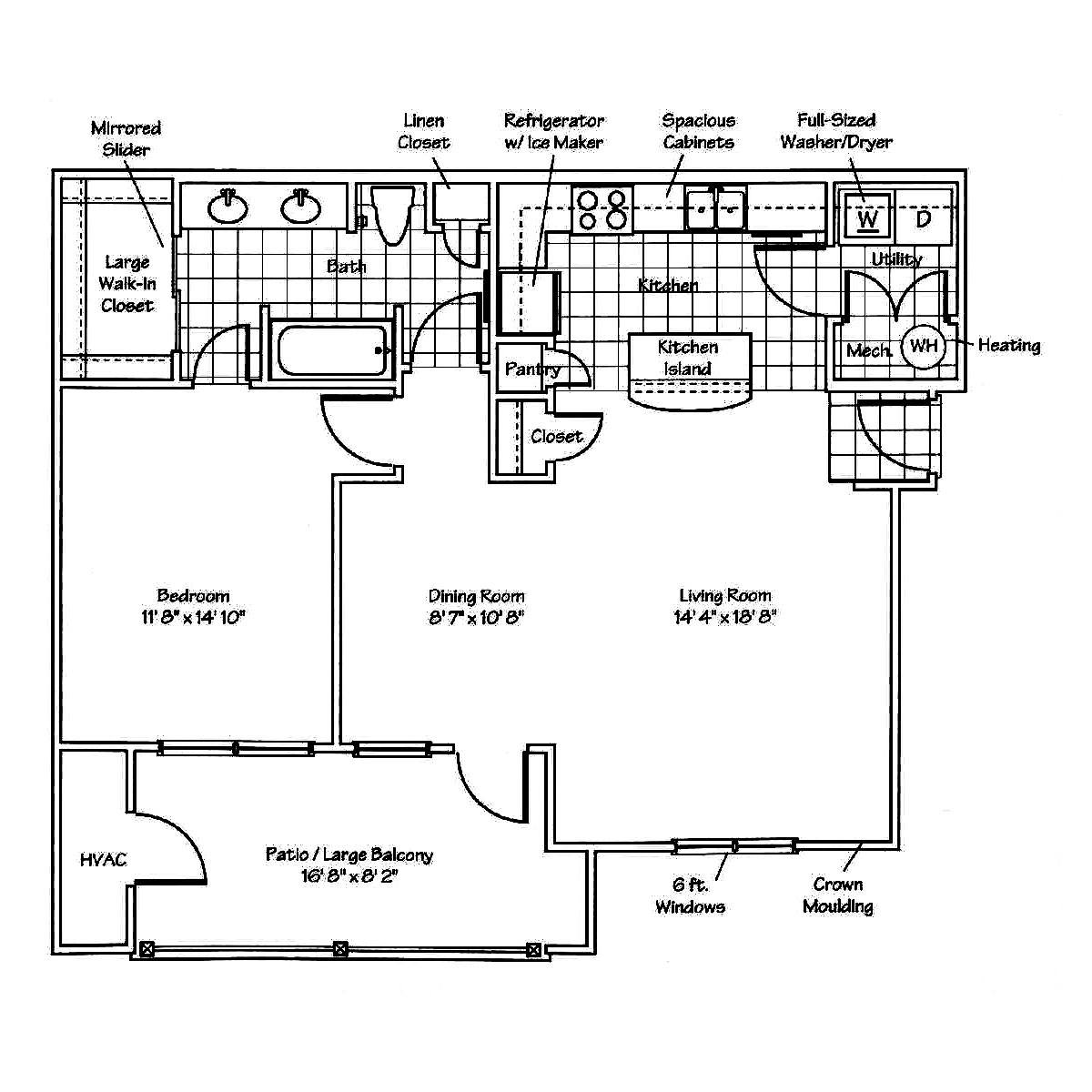 hight resolution of floor plan for st andrews 1 bedroom apartment with patio