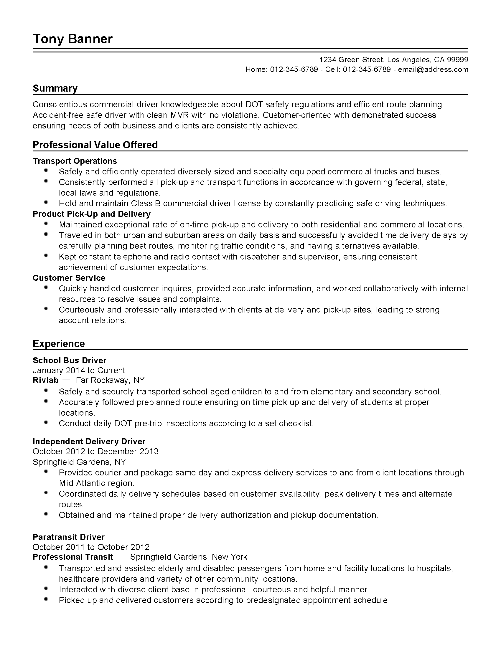 Driver Skills Resume Professional School Bus Driver Templates To Showcase Your