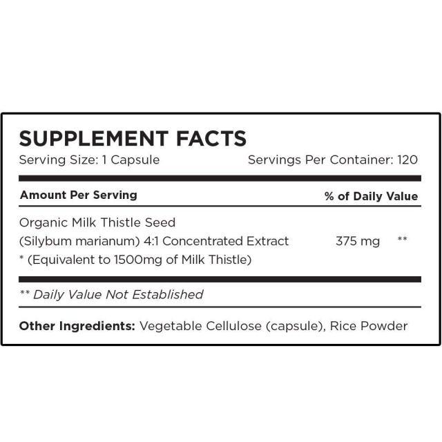 Omni Biotics Organic Milk Thistle Capsules (1500 mg) - supplement facts