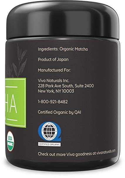Viva Naturals Organic Japanese Matcha Green Tea Powder - supplement facts