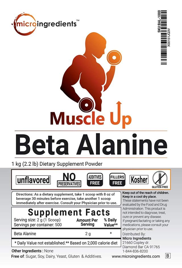 Micro Ingredients All Natural Non-GMO Premium Pure Beta-Alanine Powder - supplement facts