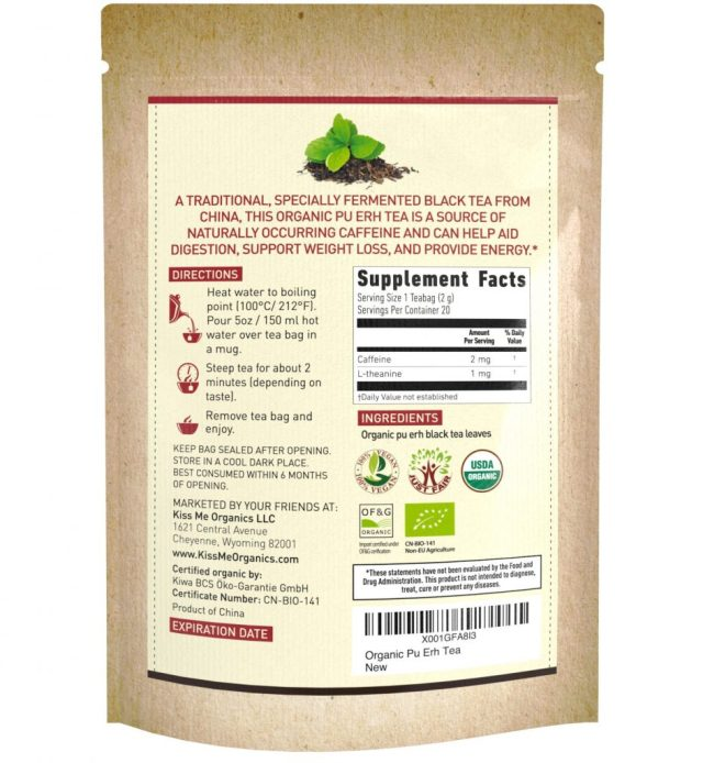 Kiss Me Organic Fermented Pu erh Tea - supplement facts