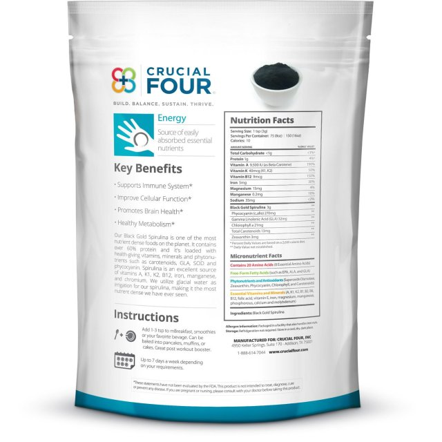 Crucial Four Organic Black Gold Spirulina Powder - supplement facts
