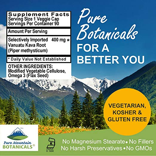 Pure Mountain Botanicals All-Natural Non-GMO Kava Root - supplement facts
