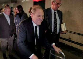 Using a walking frame, Harvey Weinstein appeared in court in New York on Monday