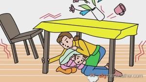 Crawl under sturdy or heavy furniture