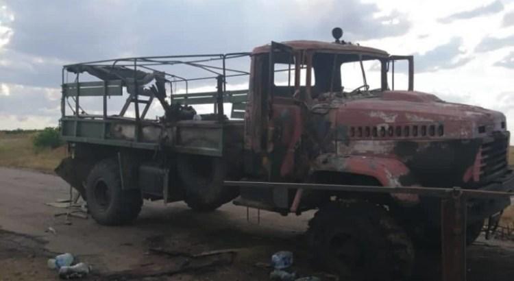 Обгоріла вантажівка біля Гранітного