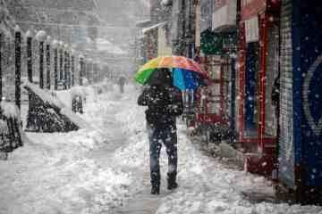 Чоловік гуляє під час сильного снігопаду в місті Кашмірі.