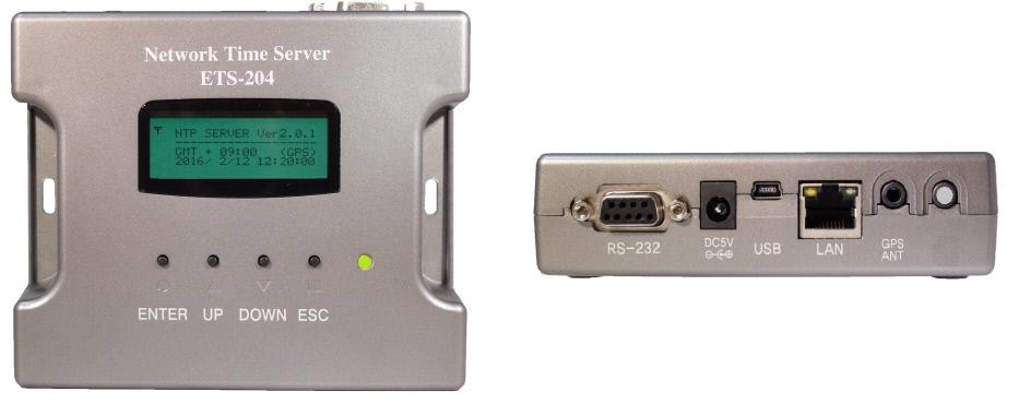 gps専用ネットワークタイムサーバー前面-側面写真