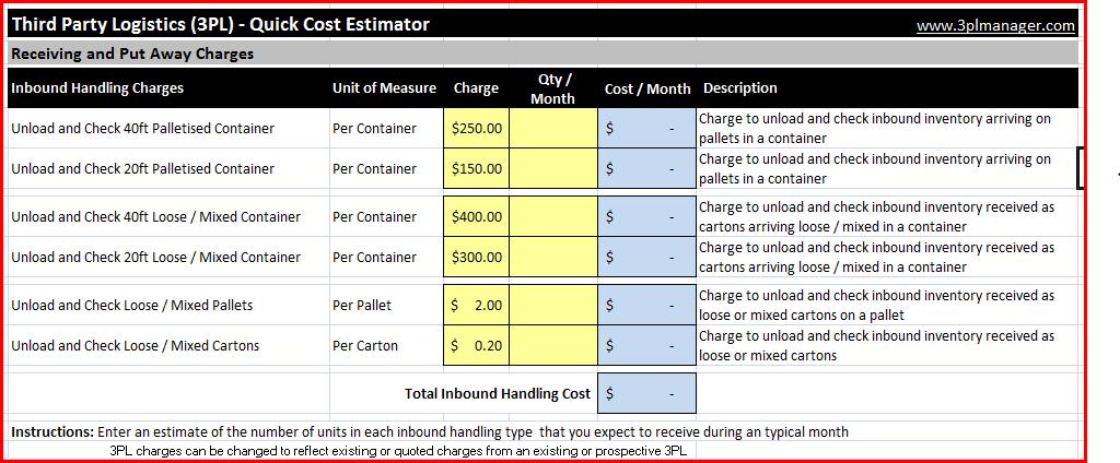 third party logistics 3pl quick cost calculator 3plmanager