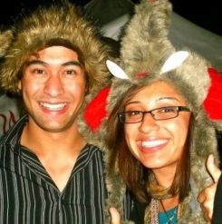 Mike and I try on silly hats as he shows me around B.C. in 2009. (Fabiola Carletti)
