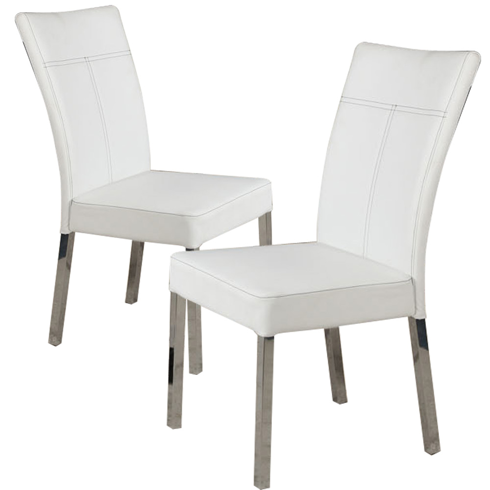Set of 4 Dining Side Chair White PU Leather High Back w