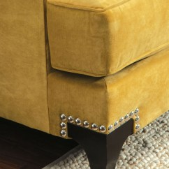 Nail Head Sofa Recover Bed Viscontti Elegant Loveseat Nailhead Gold Yellow ...