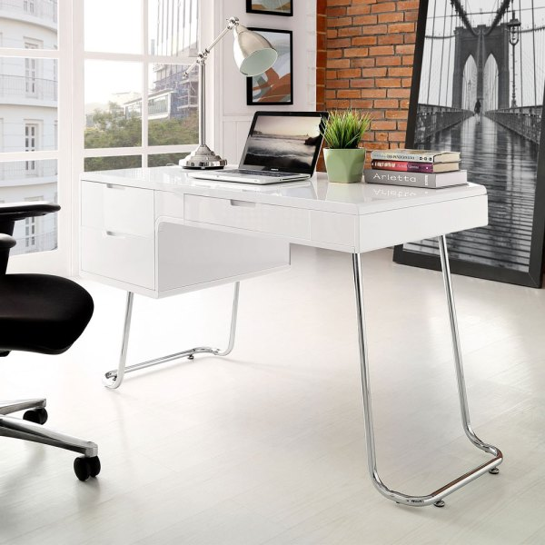Modern Swing Home Office Computer Desk High Gloss White Drawers Curved Metal Leg